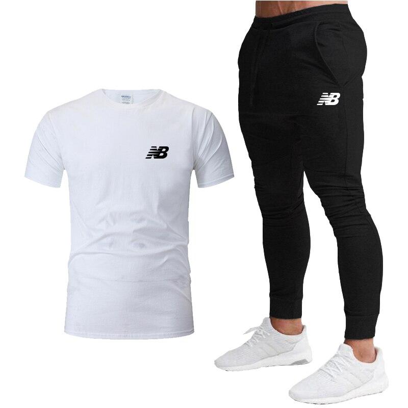 2020 Men's Running set Tracksuit Sports T Shirt + Jogging pants  Gym Fitness Fashion Quick Dry Sportswear workout Sport Suit